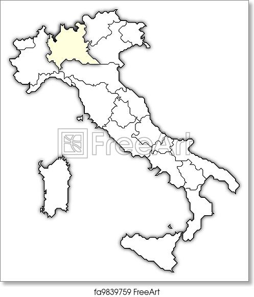 picture relating to Printable Maps of Italy identified as No cost artwork print of Map of Italy, Lombardy showcased