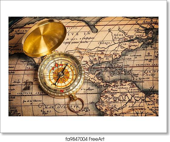Free art print of old vintage golden compass on ancient map old free art print of old vintage golden compass on ancient map gumiabroncs Gallery