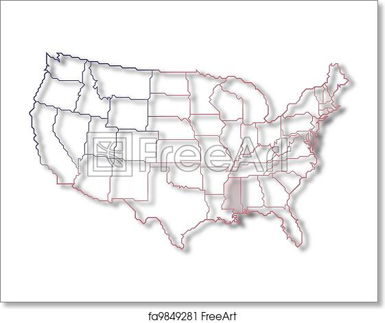 Free Art Print Of Map Of The United States Mississippi Highlighted