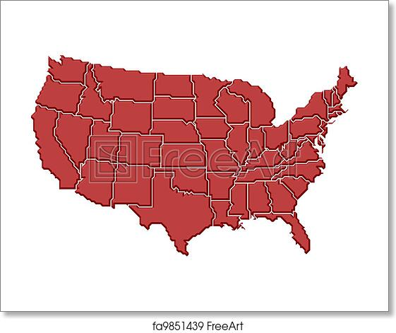 Free art print of Map of the United States