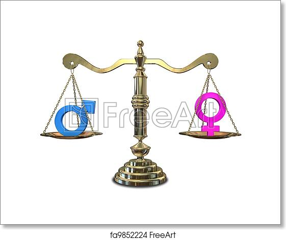 Free Art Print Of Gender Equality Balancing Scale A Gold Justice