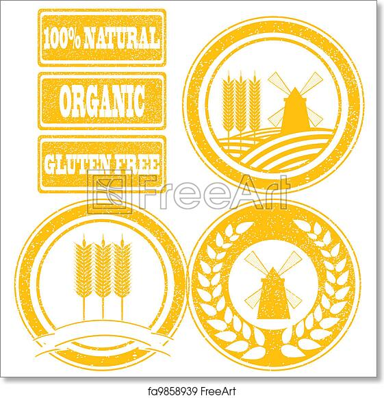 Free art print of Food orange rubber stamps labels collection for whole  grain cereal products