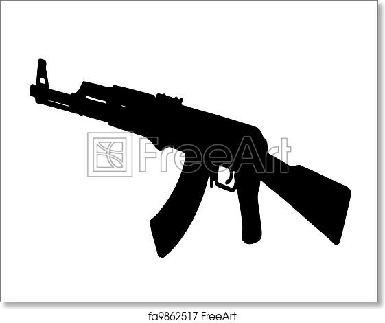 free art print of ak 47 kalashnikov ak 47 kalashnikov vector black