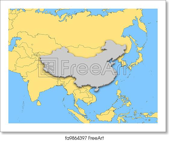 China Political Map on