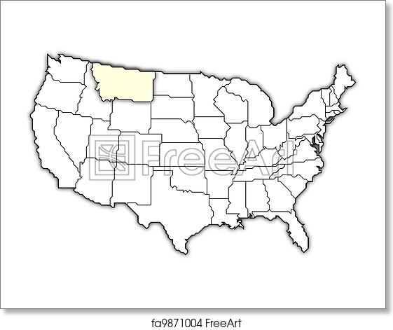 Free Art Print Of Map Of The United States Montana Highlighted