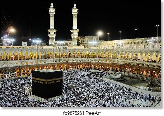 Free art print of Makkah Kaaba Hajj Muslims