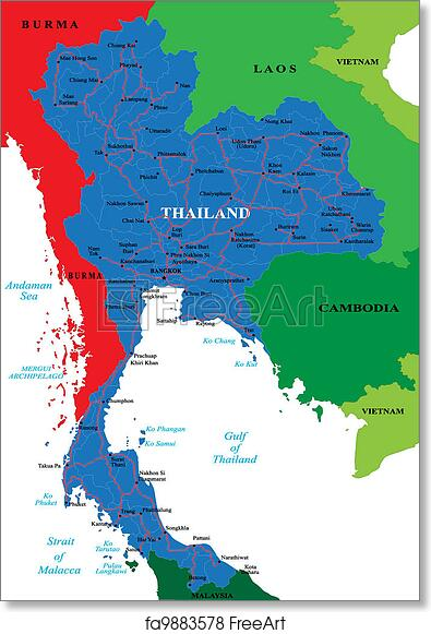 graphic about Printable Map of Thailand identify Totally free artwork print of Thailand map