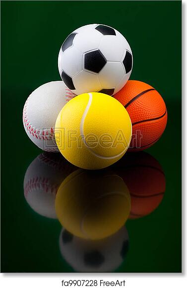 Free Art Print Of Sport Balls In Front Black Background