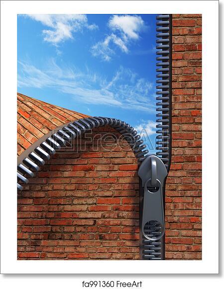 Free art print of Unzip brick wall