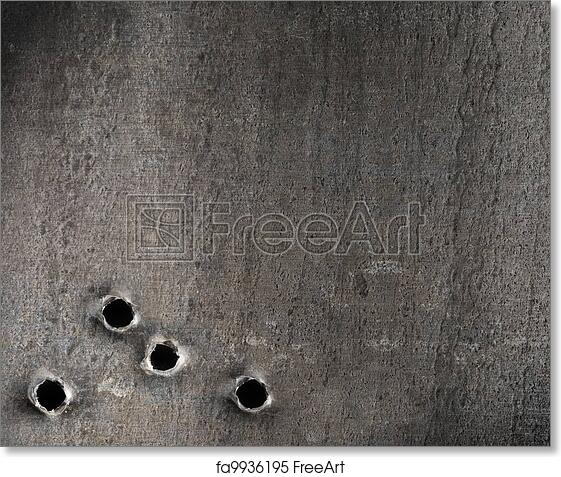 Free Art Print Of Metal With Bullet Holes Military Background