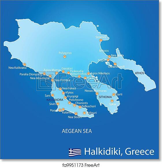 Free art print of Peninsula of Halkidiki in Greece map Peninsula of