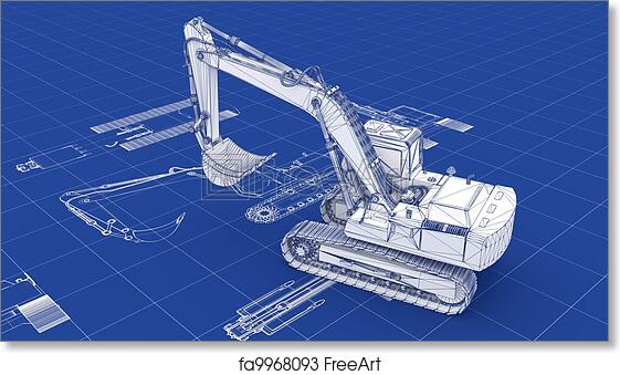Free art print of excavator blueprint excavator blueprint part of free art print of excavator blueprint malvernweather Image collections