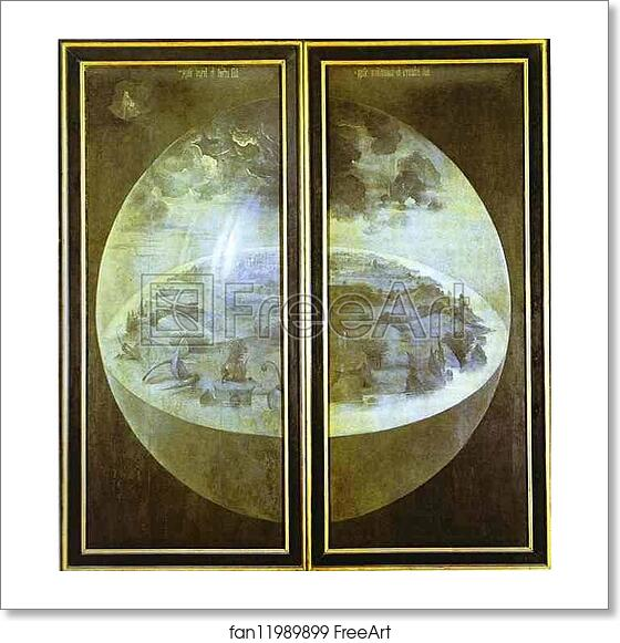 Free Art Print Of Creation Of The World By Hieronymus Bosch C 1504 1510 Closed Outer Wings Of The Triptych The Garden Of Earthly Delights Grisaille On Panel Museo Del Prado Madrid Spain