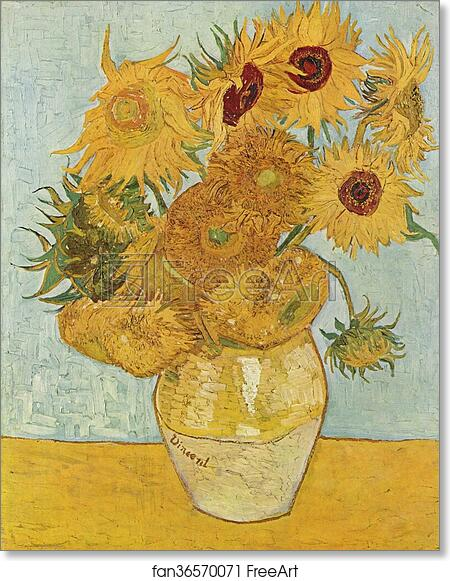 picture relating to Printable Pictures of Sunflowers titled No cost artwork print of Vase with 12 sunflowers as a result of Vincent Van Gogh
