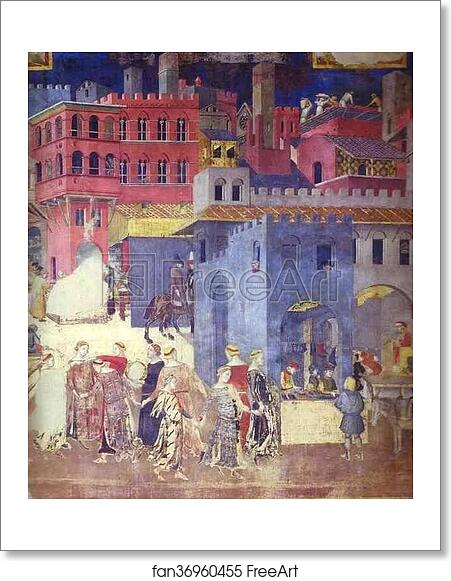 Sala Dei Nove Good Government.Free Art Print Of Allegory Of Good Government Detail By Ambrogio Lorenzetti