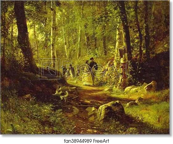 Forests Repro on Canvas or Paper Walk in the Forest by Russian Ivan Shishkin