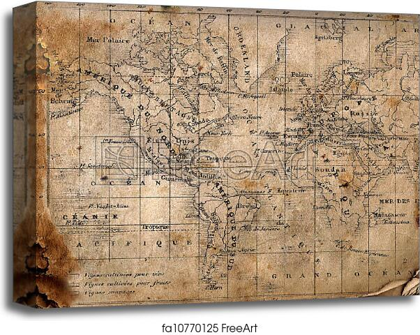Canvas print of ancient map of the world ancient map of the world canvas print of ancient map of the world gumiabroncs Choice Image