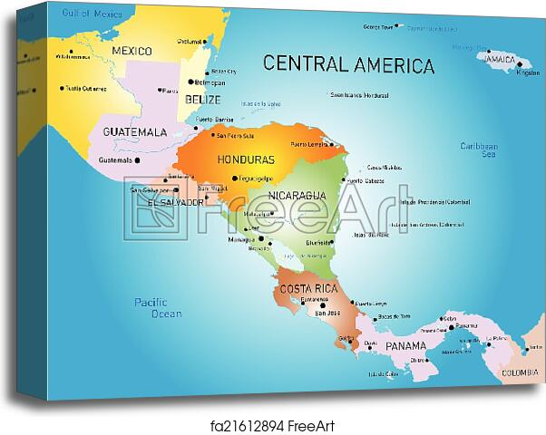 Canvas print of Central america map