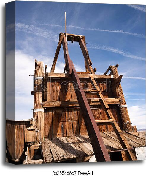 Canvas print of Old Abandoned Mine Shaft Western Desert Ghost Town