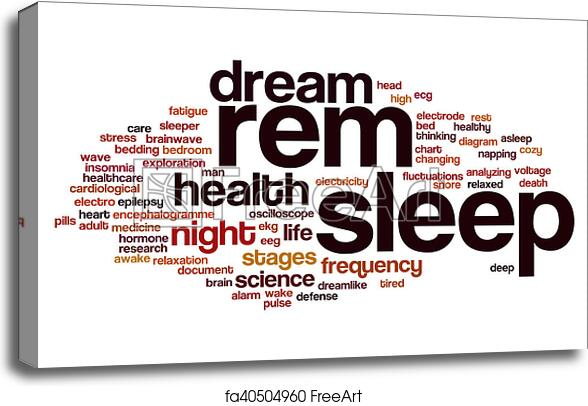 Canvas print of REM sleep word cloud