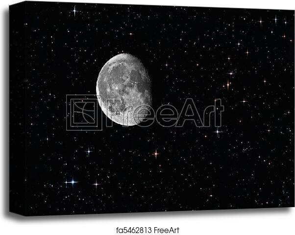 Canvas Print Of Waning Gibbous Moon Among The Stars In The
