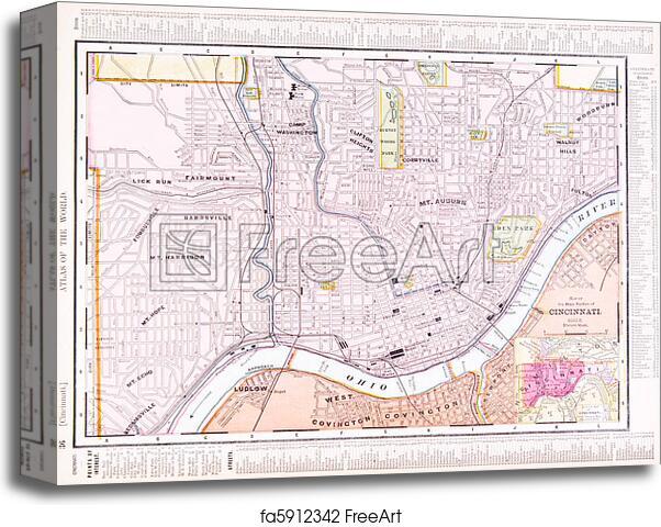 Canvas print of Antique Color Street City Map Cincinnati Ohio, USA on