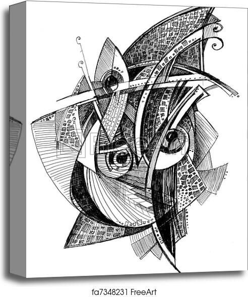 Canvas print of Abstract unusual pencil drawing | FreeArt ...