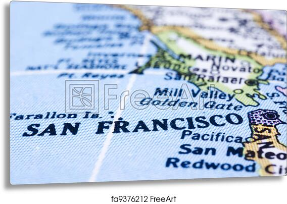 Metal Print Of Close Up Of San Francisco On Map United States A - Us map close up